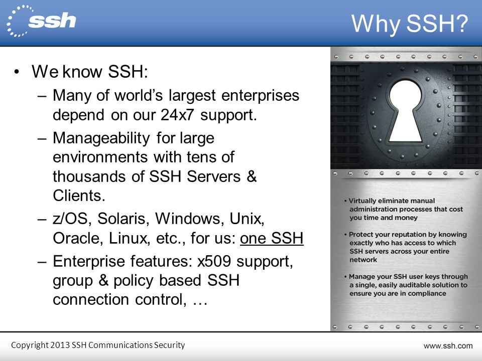 Copyright 2013 SSH Communications Security Some of Our Customers Energy & Utilities Government Financial Retail Healthcare 5