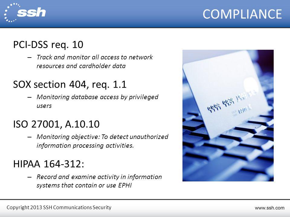 Copyright 2013 SSH Communications Security COMPLIANCE PCI-DSS req.