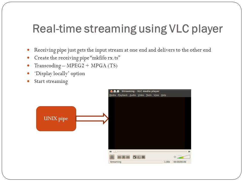 "Real-time streaming using VLC player Receiving pipe just gets the input stream at one end and delivers to the other end Create the receiving pipe ""mkf"
