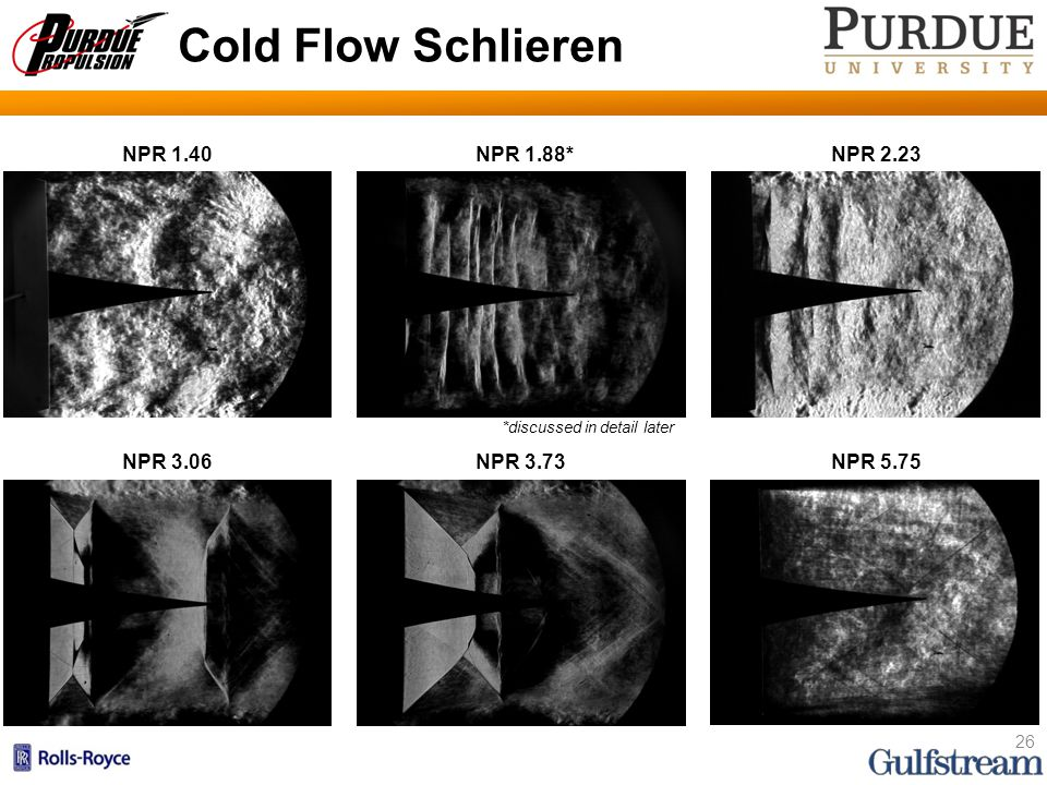 Cold Flow Schlieren 26 NPR 1.40NPR 1.88*NPR 2.23 NPR 3.06NPR 3.73NPR 5.75 *discussed in detail later