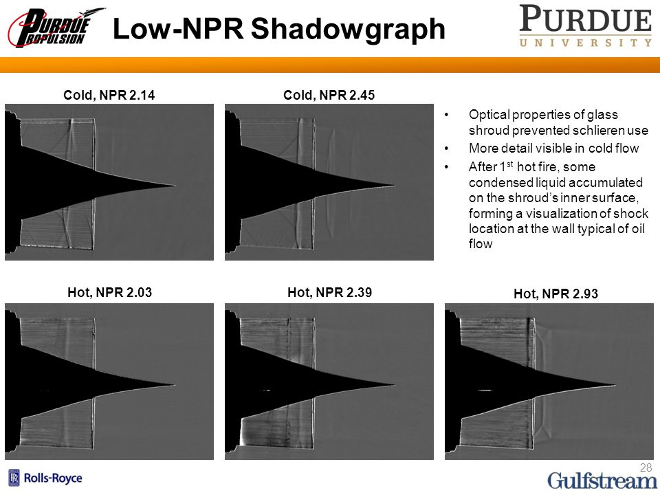 Low-NPR Shadowgraph Optical properties of glass shroud prevented schlieren use More detail visible in cold flow After 1 st hot fire, some condensed liquid accumulated on the shroud's inner surface, forming a visualization of shock location at the wall typical of oil flow 28 Hot, NPR 2.03Hot, NPR 2.39 Hot, NPR 2.93 Cold, NPR 2.14 Cold, NPR 2.45