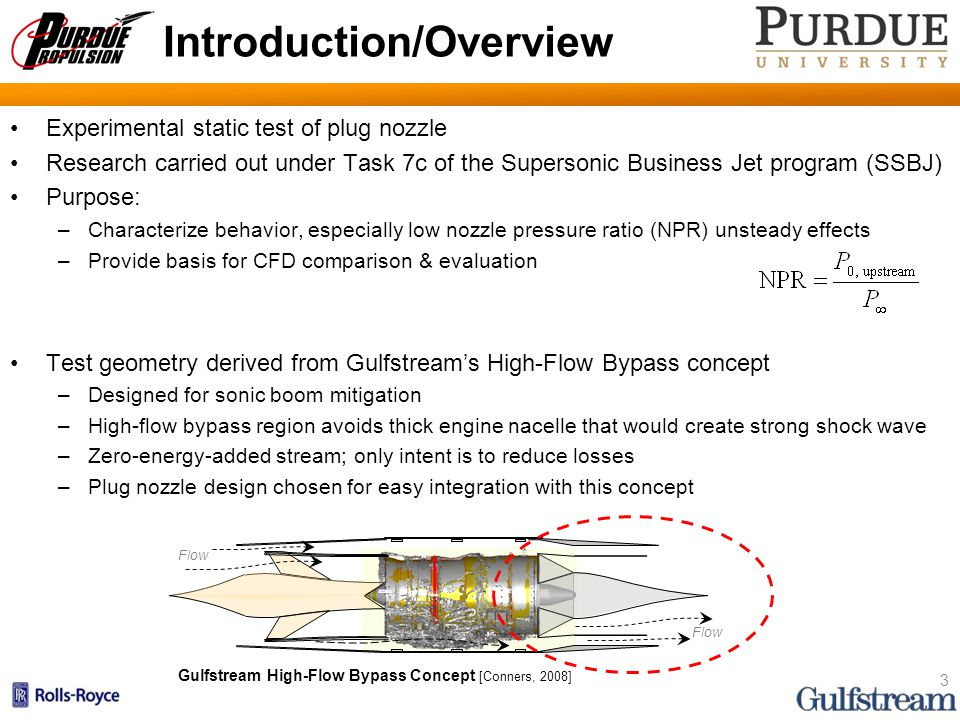 Background Plug nozzles are altitude-compensating Free jet boundary expands to match local ambient pressure –For NPRs below design, avoids overexpansion –For NPRs at and above design, behaves like standard C-D nozzle Shocks/expansions are the mechanisms that enable altitude-compensation –Consider thrust as integral of surface pressure over projected area –Pressure plot at right shows better performance for plug at low NPR Can truncate plug to get net increase in performance Plug design has also been shown to be less noisy [Dosanjh, 1986; Stone, 2000] 4 Surface Pressures at Low NPR for Plug and C-D Nozzle Plug Nozzle at NPR < NPR design [Hagemann, 1998] [Ruf, 1997]