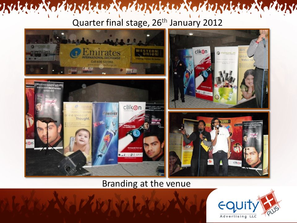 Quarter final stage, 26 th January 2012 Branding at the venue