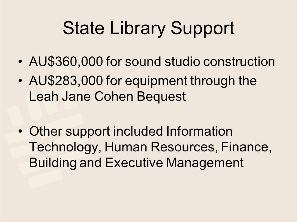 State Library Support AU$360,000 for sound studio construction AU$283,000 for equipment through the Leah Jane Cohen Bequest Other support included Information Technology, Human Resources, Finance, Building and Executive Management