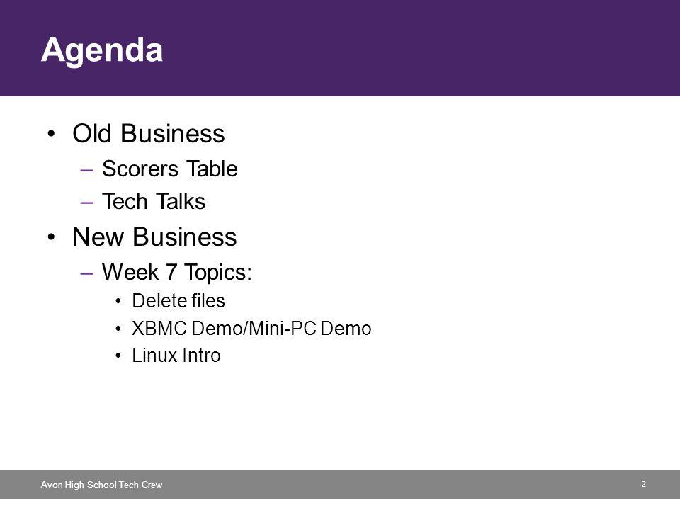 2 Avon High School Tech Crew Agenda Old Business –Scorers Table –Tech Talks New Business –Week 7 Topics: Delete files XBMC Demo/Mini-PC Demo Linux Intro