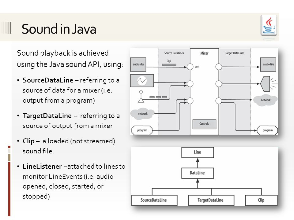Sound playback is achieved using the Java sound API, using: SourceDataLine – referring to a source of data for a mixer (i.e. output from a program) Ta