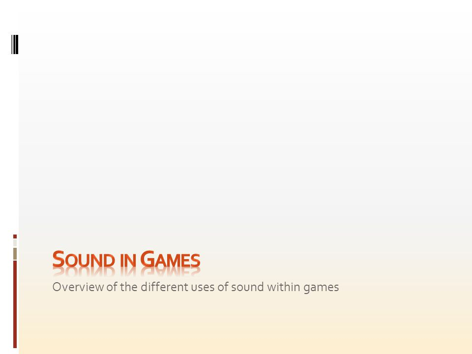 Overview of the different uses of sound within games