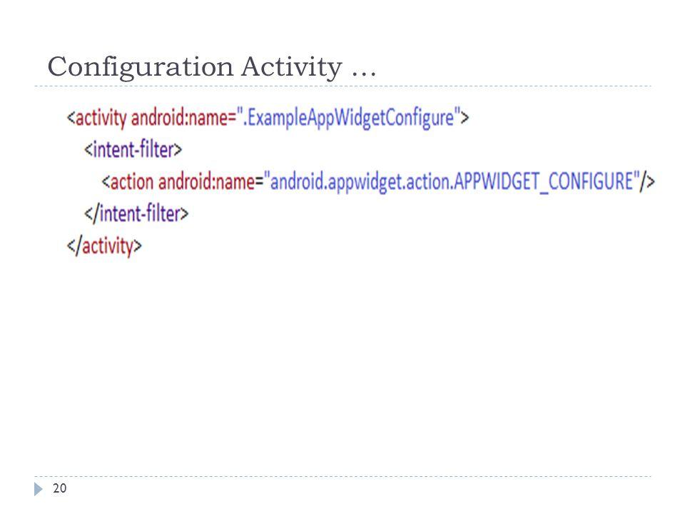 Configuration Activity … 20