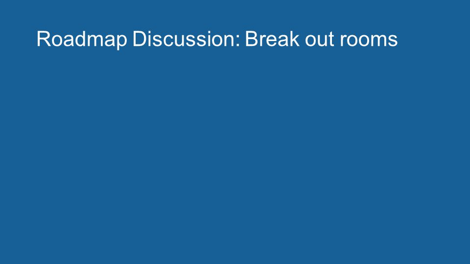 Roadmap Discussion: Break out rooms
