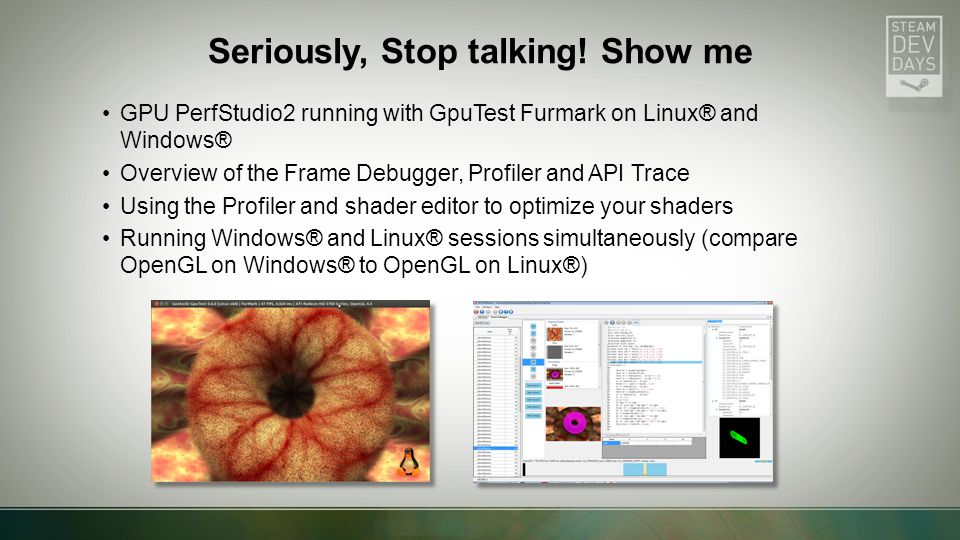 GPU PerfStudio2 running with GpuTest Furmark on Linux® and Windows® Overview of the Frame Debugger, Profiler and API Trace Using the Profiler and shader editor to optimize your shaders Running Windows® and Linux® sessions simultaneously (compare OpenGL on Windows® to OpenGL on Linux®) Seriously, Stop talking.