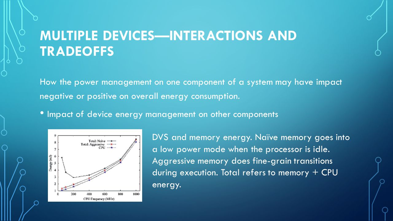 MULTIPLE DEVICES—INTERACTIONS AND TRADEOFFS How the power management on one component of a system may have impact negative or positive on overall energy consumption.