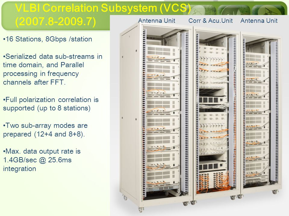 VLBI Correlation Subsystem (VCS) (2007.8-2009.7) 16 Stations, 8Gbps /station Serialized data sub-streams in time domain, and Parallel processing in frequency channels after FFT.