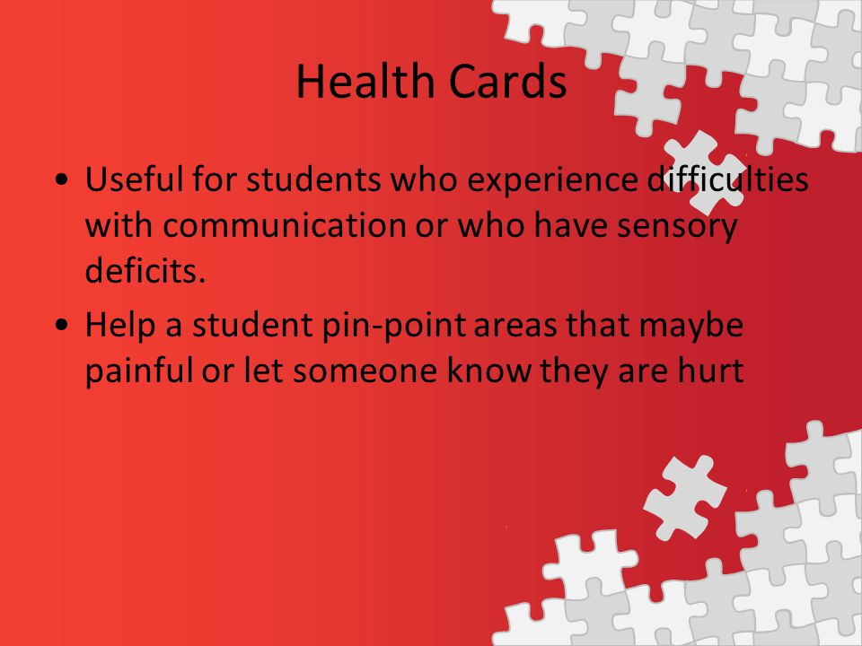 Useful for students who experience difficulties with communication or who have sensory deficits.