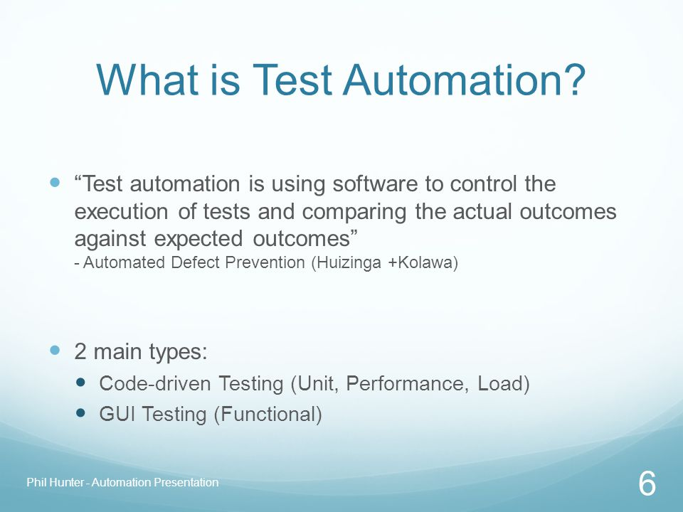 "What is Test Automation? ""Test automation is using software to control the execution of tests and comparing the actual outcomes against expected outco"