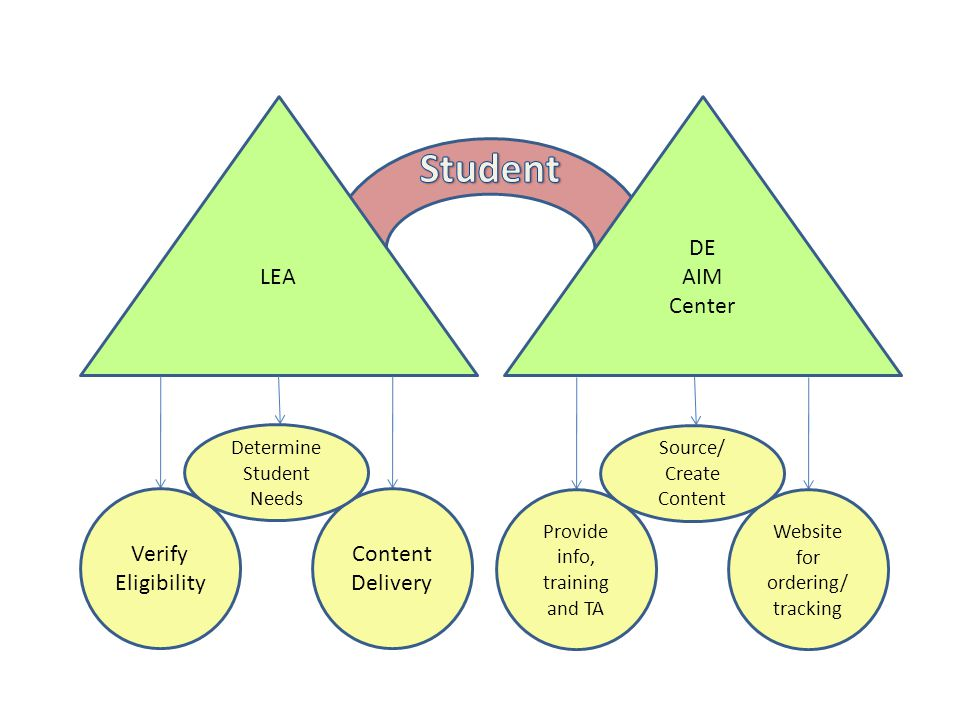LEA DE AIM Center Verify Eligibility Content Delivery Determine Student Needs Provide info, training and TA Website for ordering/ tracking Source/ Create Content