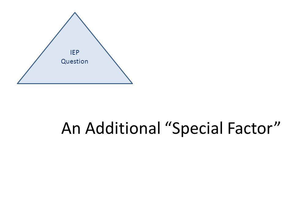 IEP Question An Additional Special Factor