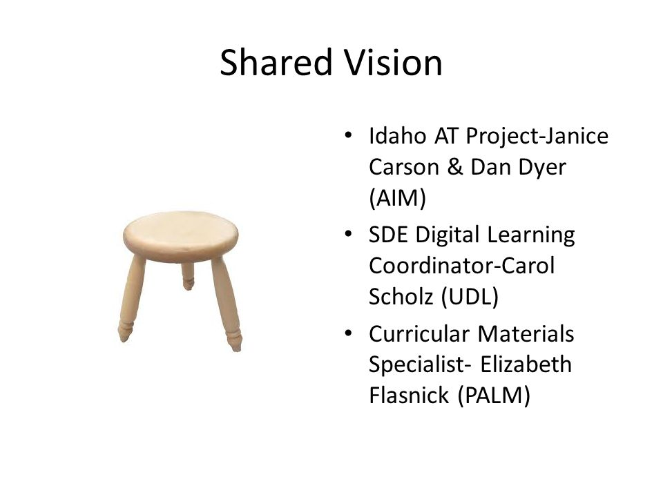 Shared Vision Idaho AT Project-Janice Carson & Dan Dyer (AIM) SDE Digital Learning Coordinator-Carol Scholz (UDL) Curricular Materials Specialist- Elizabeth Flasnick (PALM)