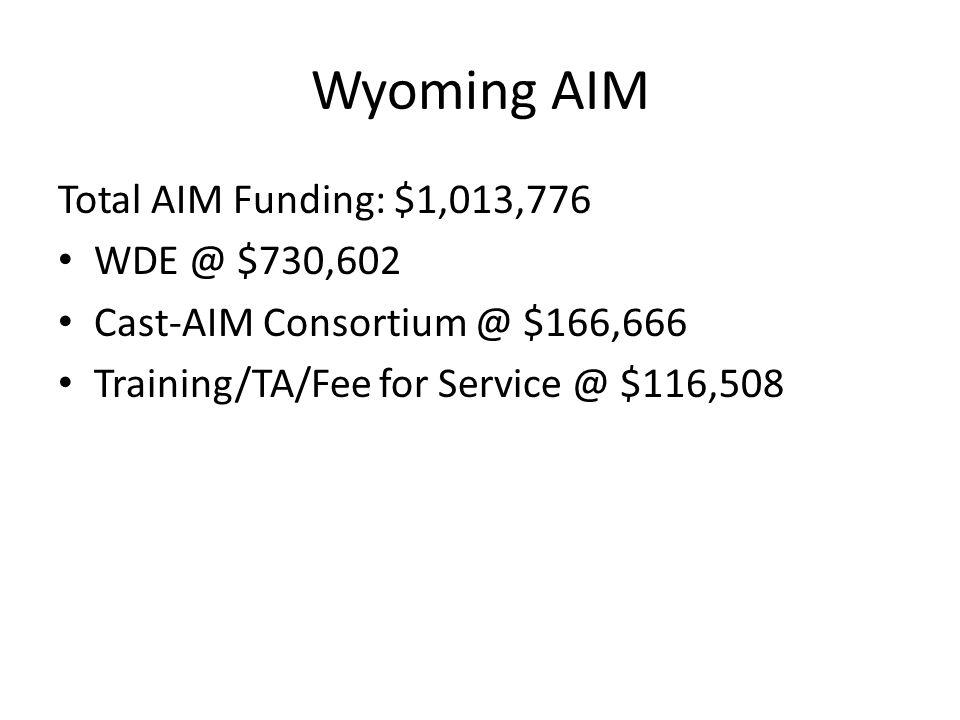 Wyoming AIM Total AIM Funding: $1,013,776 WDE @ $730,602 Cast-AIM Consortium @ $166,666 Training/TA/Fee for Service @ $116,508