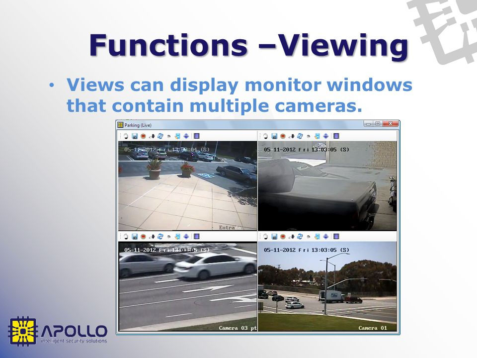 Functions –Viewing Views can display monitor windows that contain multiple cameras.