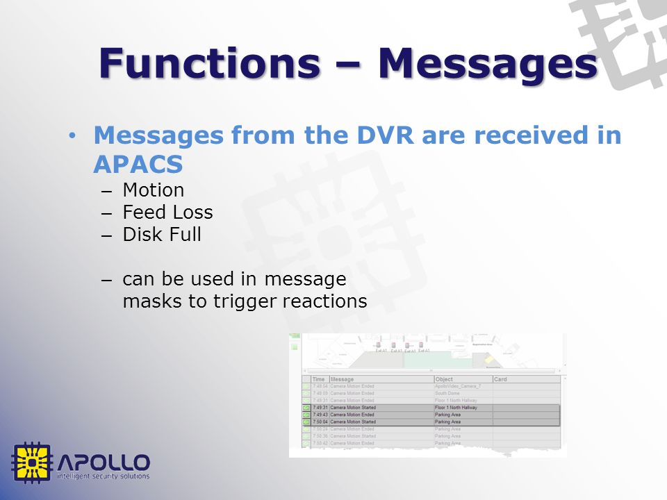 Functions – Messages Messages from the DVR are received in APACS – Motion – Feed Loss – Disk Full – can be used in message masks to trigger reactions