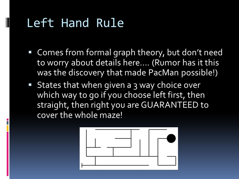 Left Hand Rule  Comes from formal graph theory, but don't need to worry about details here….