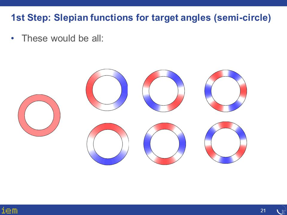 1st Step: Slepian functions for target angles (semi-circle) 21 These would be all: