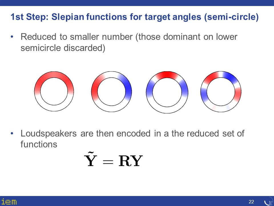 1st Step: Slepian functions for target angles (semi-circle) 22 Reduced to smaller number (those dominant on lower semicircle discarded) Loudspeakers a