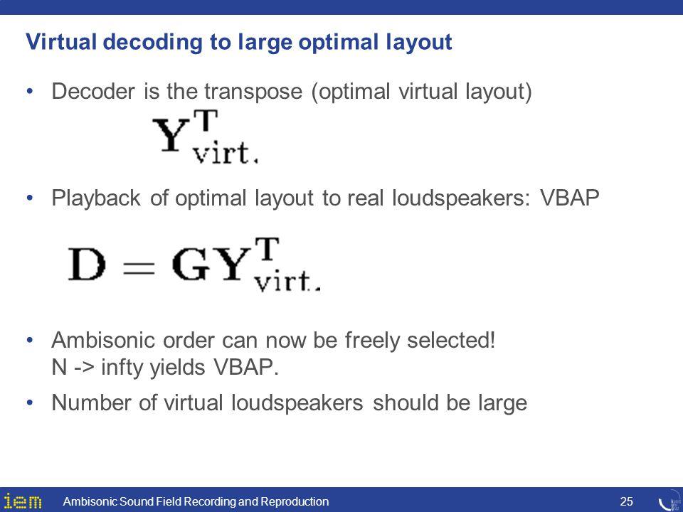 Virtual decoding to large optimal layout Decoder is the transpose (optimal virtual layout) Playback of optimal layout to real loudspeakers: VBAP Ambis