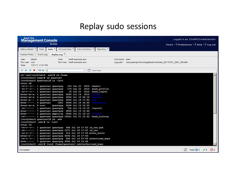 Replay sudo sessions