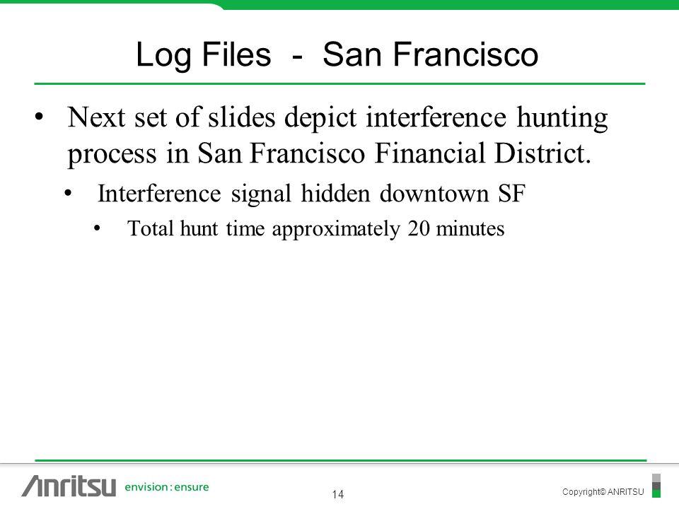 Copyright© ANRITSU 14 Log Files - San Francisco Next set of slides depict interference hunting process in San Francisco Financial District. Interferen