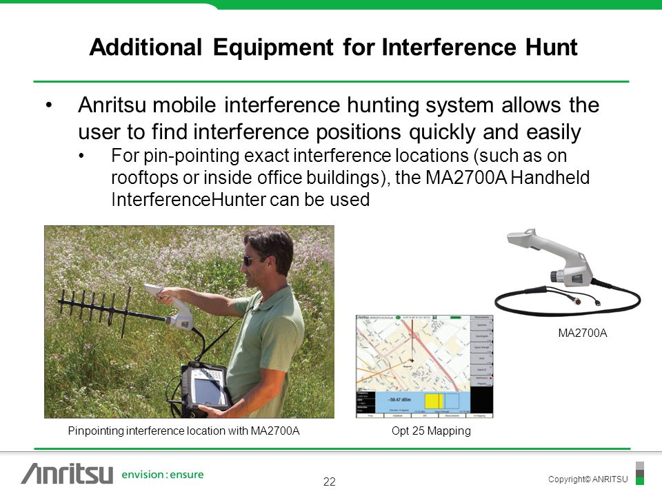 Copyright© ANRITSU 22 Additional Equipment for Interference Hunt Anritsu mobile interference hunting system allows the user to find interference posit