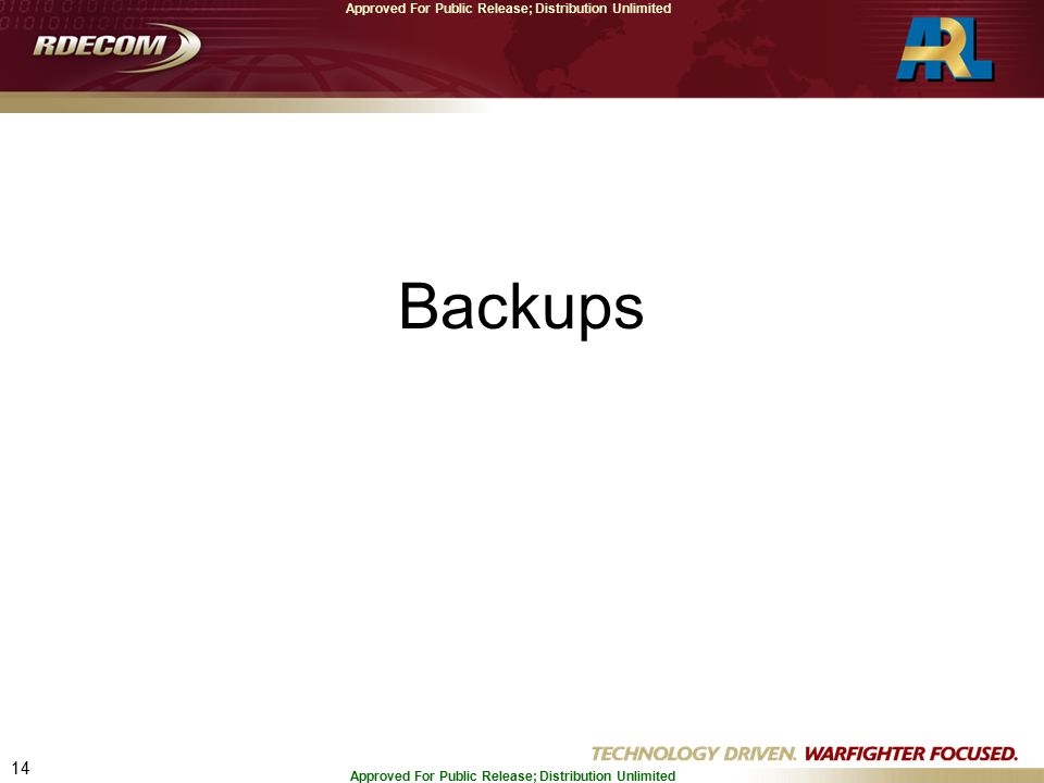 14 Approved For Public Release; Distribution Unlimited Backups