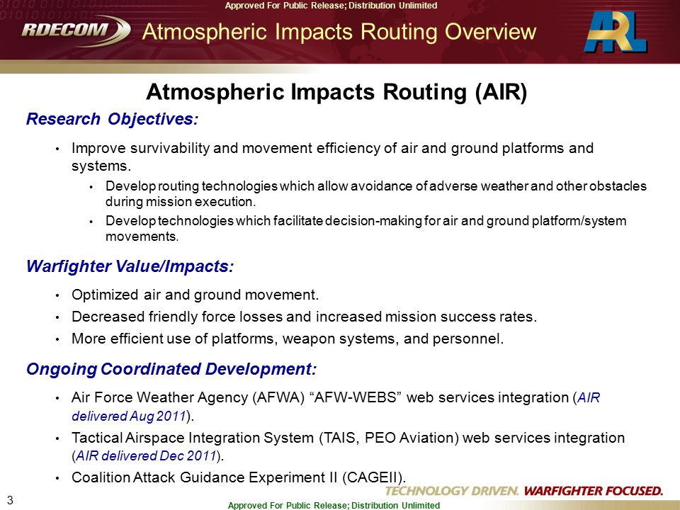 3 Approved For Public Release; Distribution Unlimited Atmospheric Impacts Routing Overview Research Objectives: Improve survivability and movement efficiency of air and ground platforms and systems.