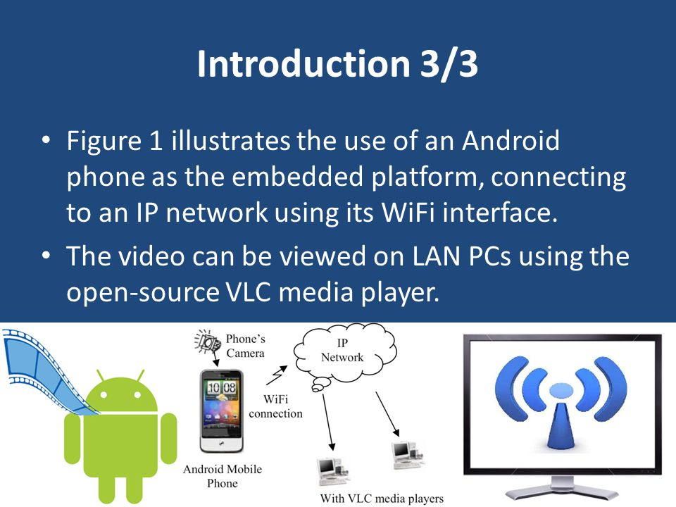 Introduction 3/3 Figure 1 illustrates the use of an Android phone as the embedded platform, connecting to an IP network using its WiFi interface. The