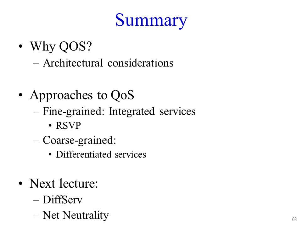 68 Summary Why QOS.