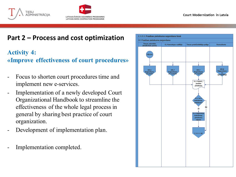 Court Modernization in Latvia Part 2 – Process and cost optimization Activity 4: «Improve effectiveness of court procedures» -Focus to shorten court p