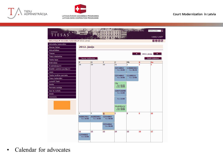 Court Modernization in Latvia Calendar for advocates