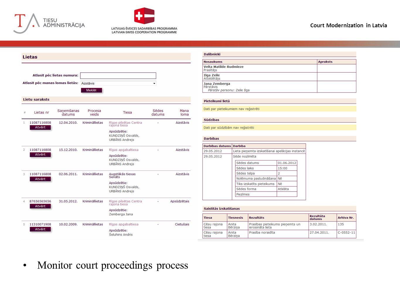 Court Modernization in Latvia Monitor court proceedings process