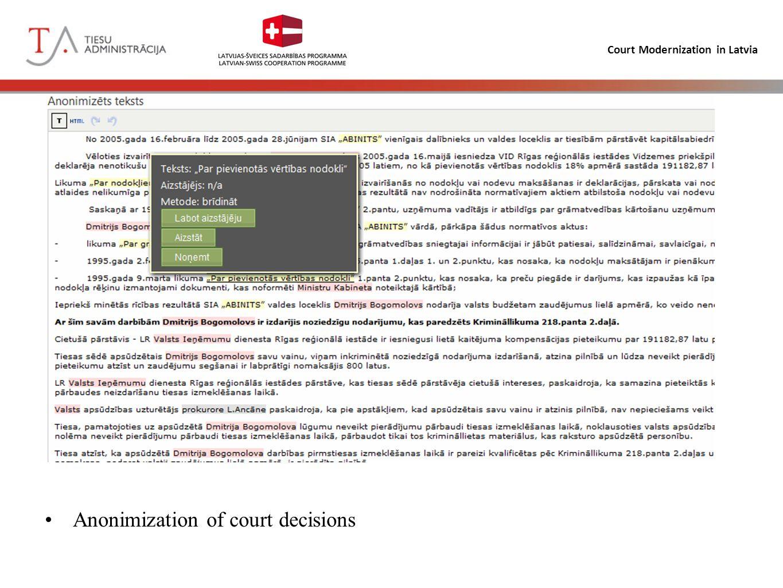 Court Modernization in Latvia Anonimization of court decisions
