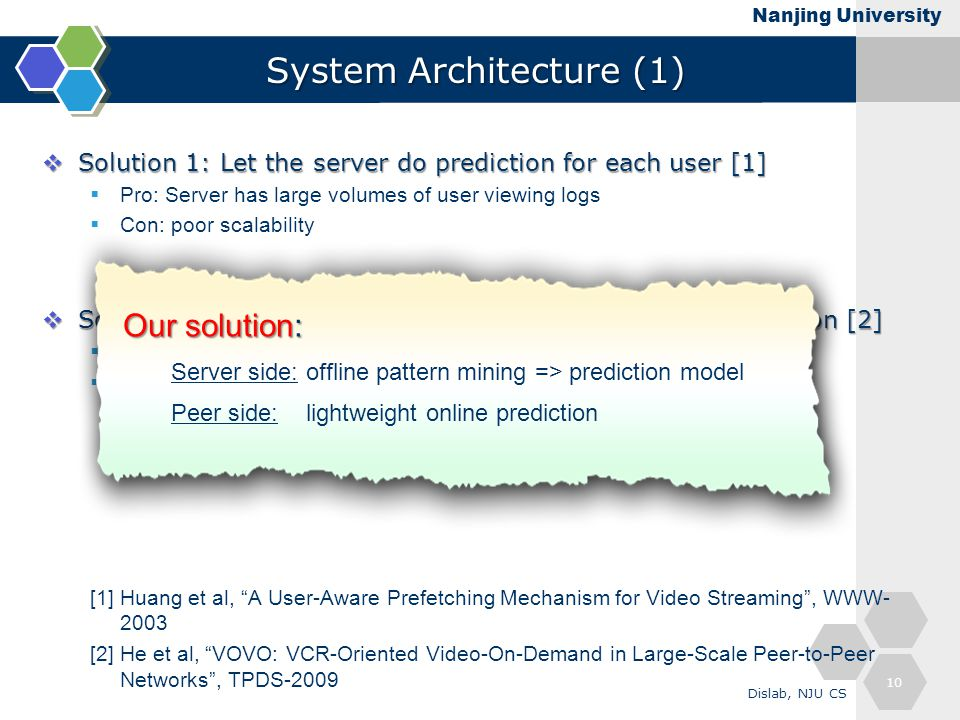 Nanjing University System Architecture (1)  Solution 1: Let the server do prediction for each user [1]  Pro: Server has large volumes of user viewin