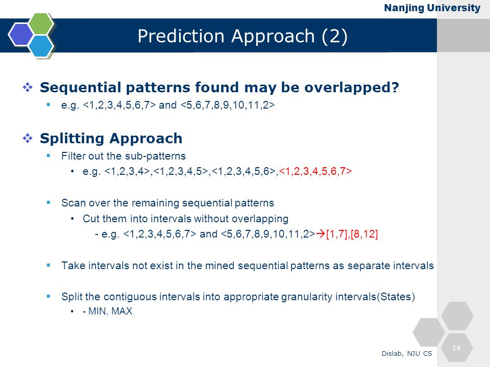 Nanjing University Prediction Approach (2)  Sequential patterns found may be overlapped.