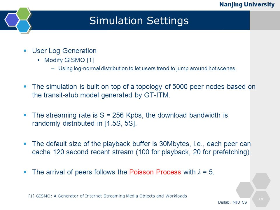 Nanjing University Simulation Settings  User Log Generation Modify GISMO [1] –Using log-normal distribution to let users trend to jump around hot scenes.