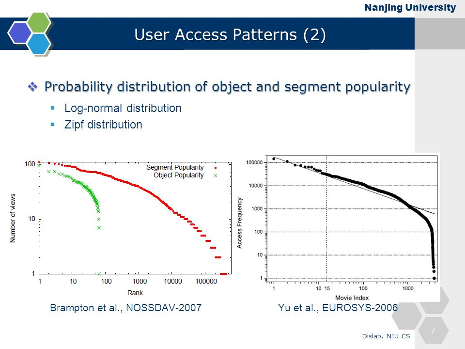 Nanjing University User Access Patterns (2)  Probability distribution of object and segment popularity  Log-normal distribution  Zipf distribution Brampton et al., NOSSDAV-2007 Yu et al., EUROSYS-2006 7 Dislab, NJU CS