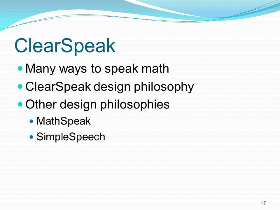 How Math Speech Works Rules Preferences Exact Speech 16