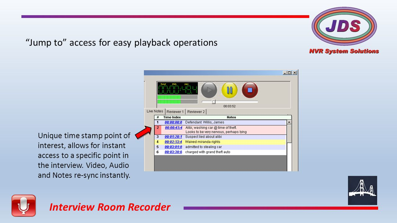 Interview Room Recorder Export an entire case file: Audio, Video and Text.