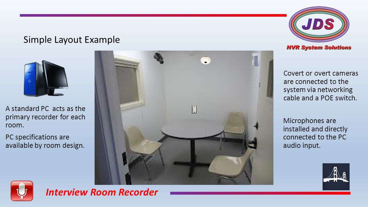 Interview Room Recorder Simple Layout Example A standard PC acts as the primary recorder for each room.