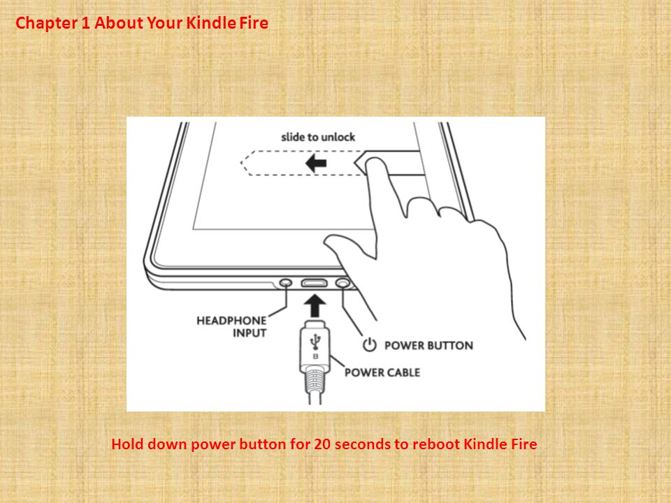 Chapter 1 About Your Kindle Fire Hold down power button for 20 seconds to reboot Kindle Fire