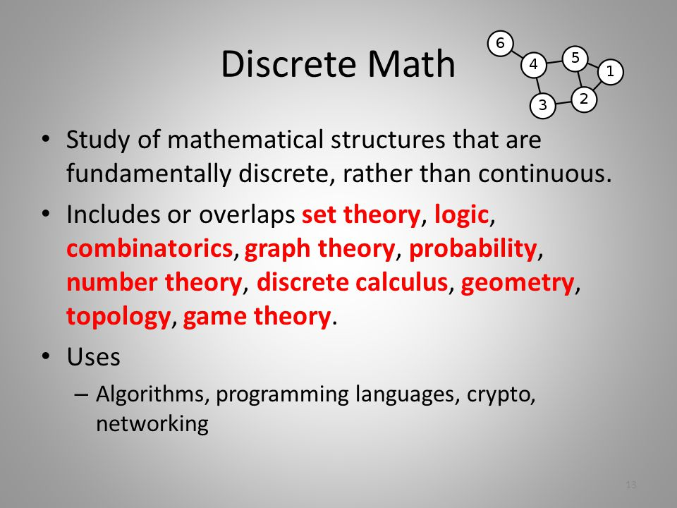 Discrete Math Study of mathematical structures that are fundamentally discrete, rather than continuous.