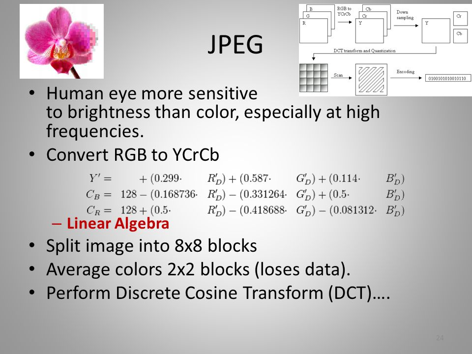JPEG Human eye more sensitive to brightness than color, especially at high frequencies.