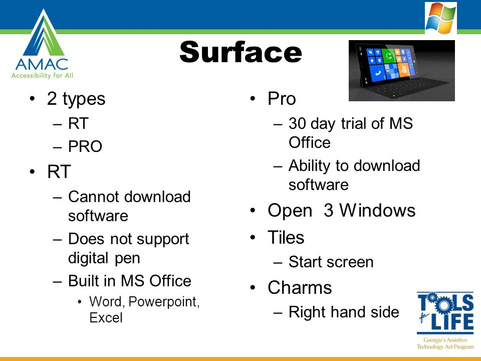 Surface 2 types –RT –PRO RT –Cannot download software –Does not support digital pen –Built in MS Office Word, Powerpoint, Excel Pro –30 day trial of M